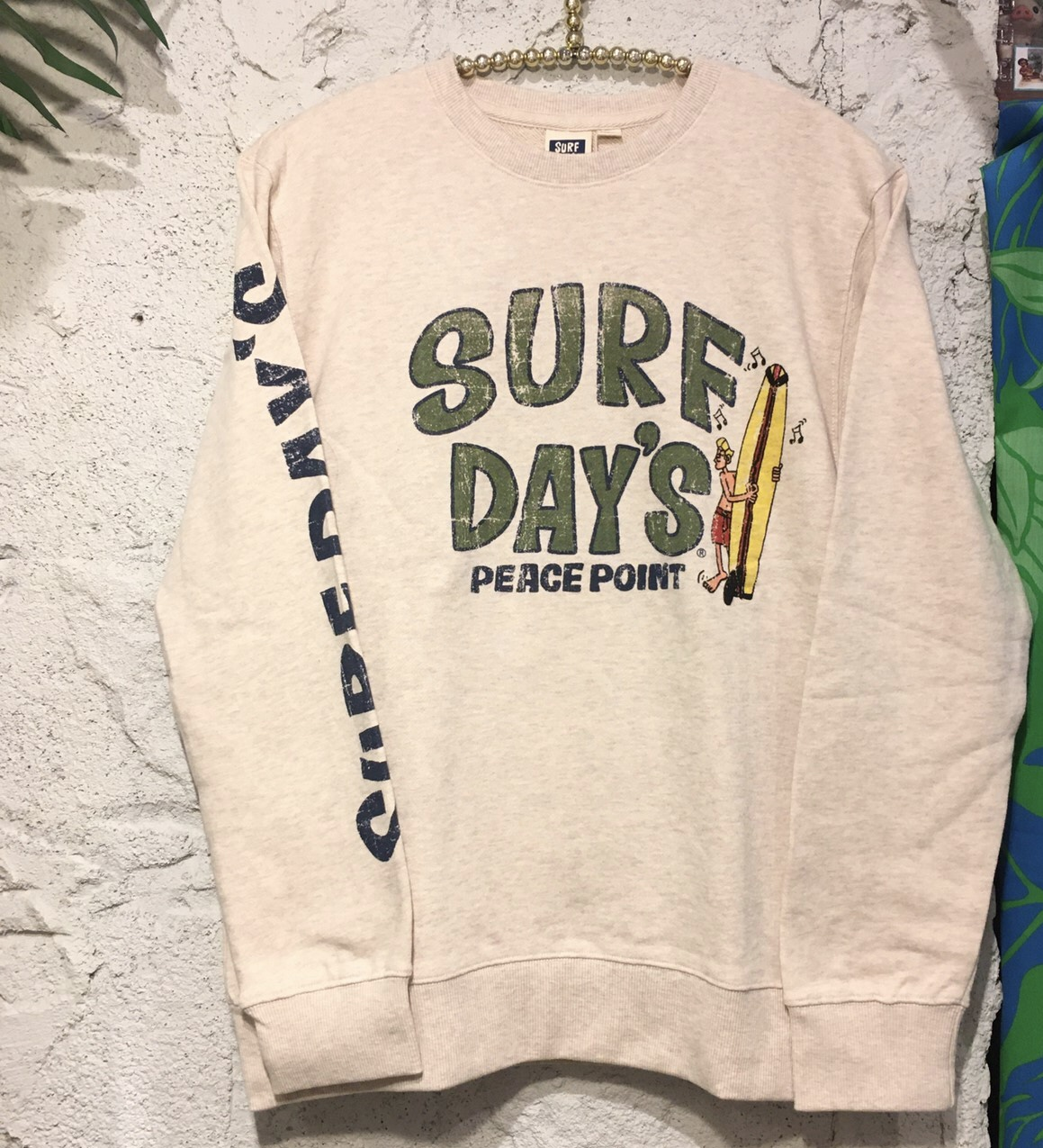 【SURF DAY'S】メンズトレーナーpeace Point/IVO /M/L/