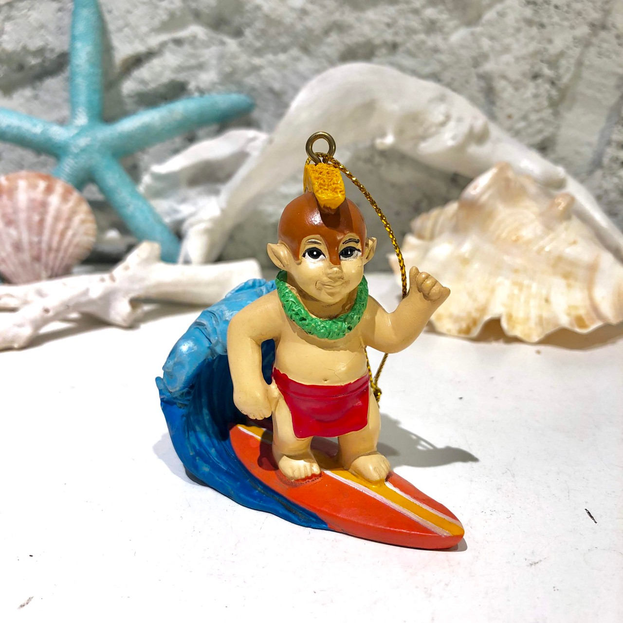 ハワイアンクリスマスオーナメント/メネフネ サーフィン