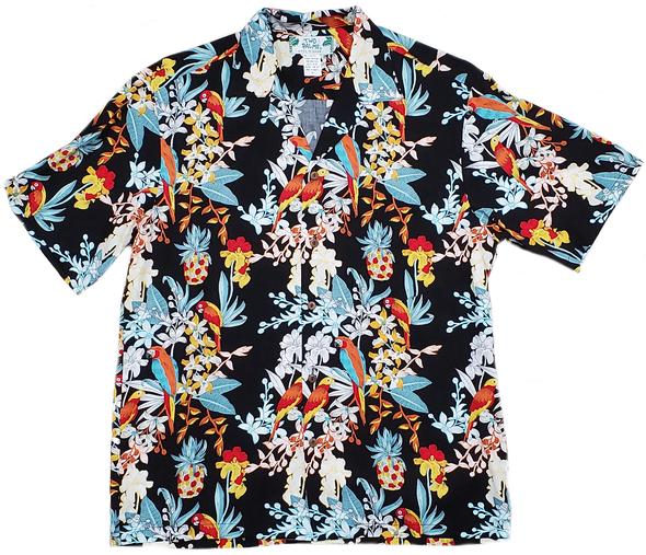 Mensアロハシャツ Parrots Black