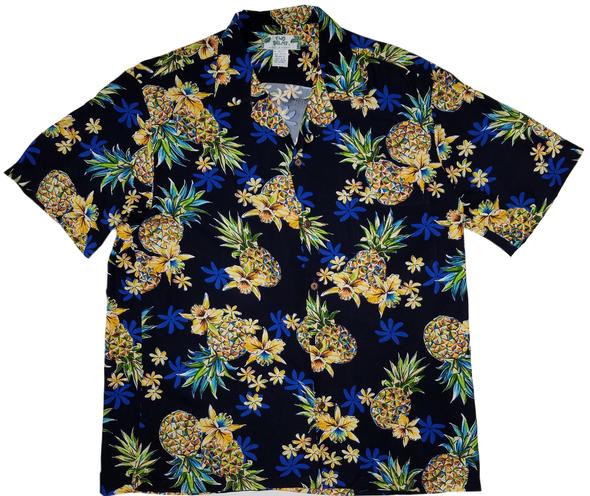 Mensアロハシャツ Golden Pineapple Navy