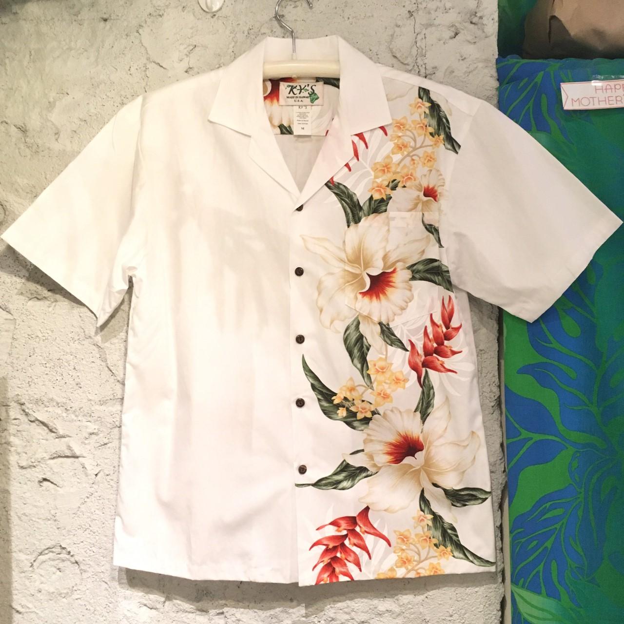 Mensアロハシャツ /サイドフラワー/オーキッドWH