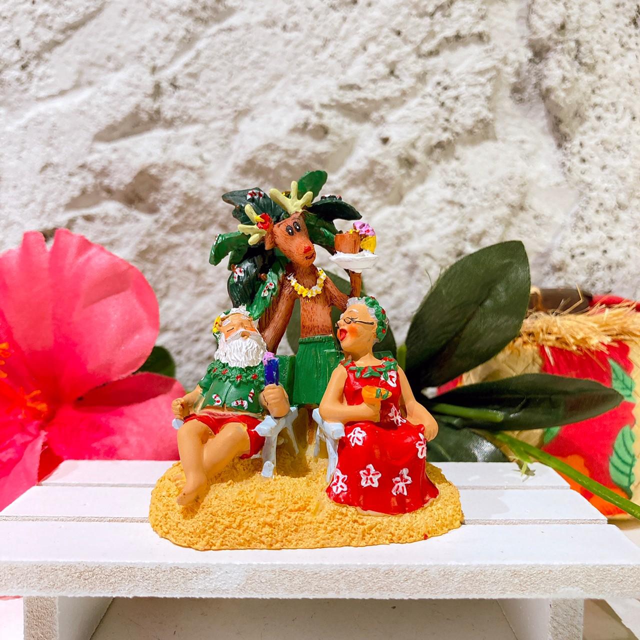 ハワイアンクリスマスオーナメント//サンタさんカップル