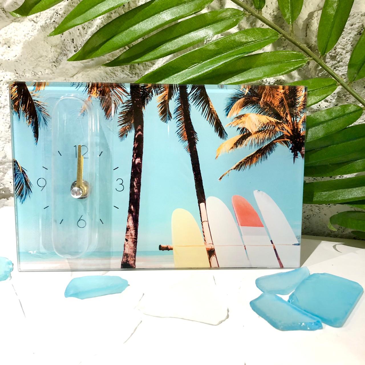 フォトデザイン時計【ハワイアン雑貨】ボードとヤシの木