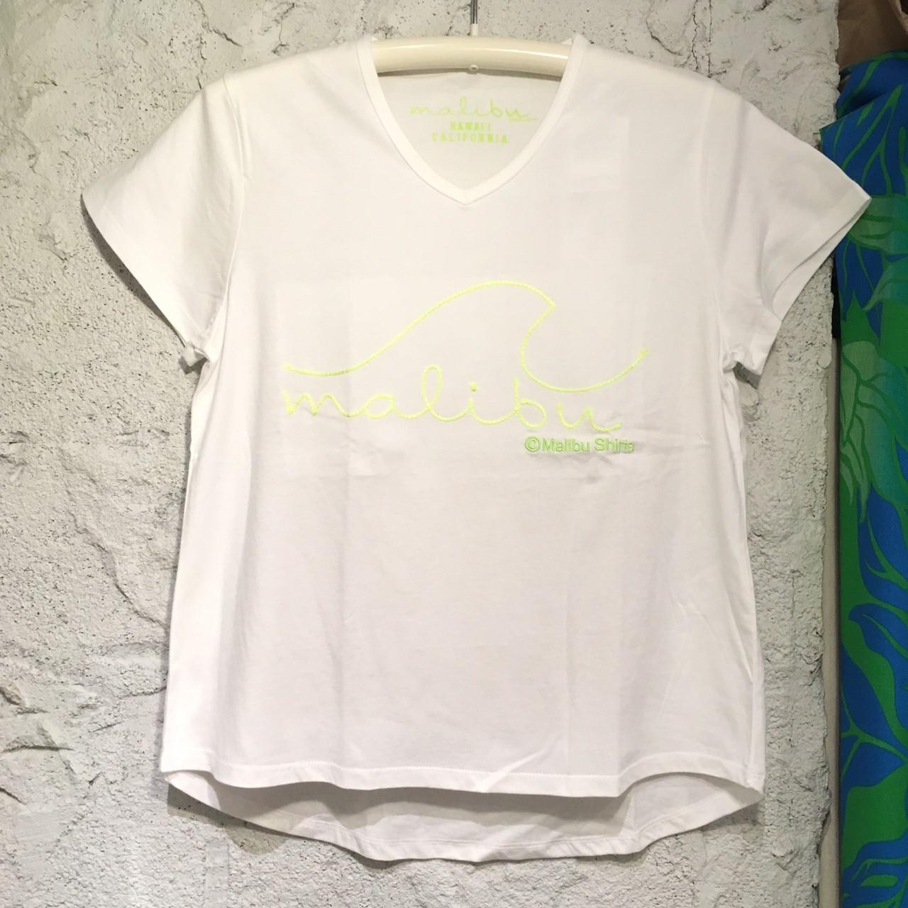 MALIBU SHIRTSチェーン刺繍VネックSSTシャツGR【アロハラバーズ】