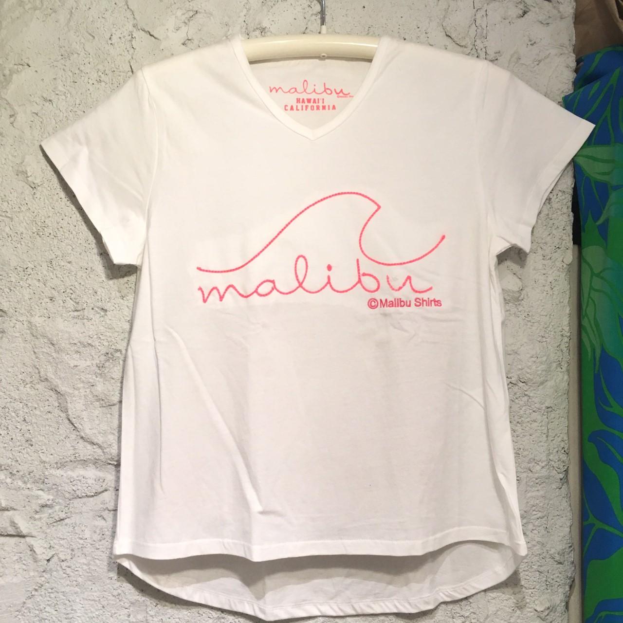 MALIBU SHIRTSチェーン刺繍VネックSSTシャツPK【アロハラバーズ】