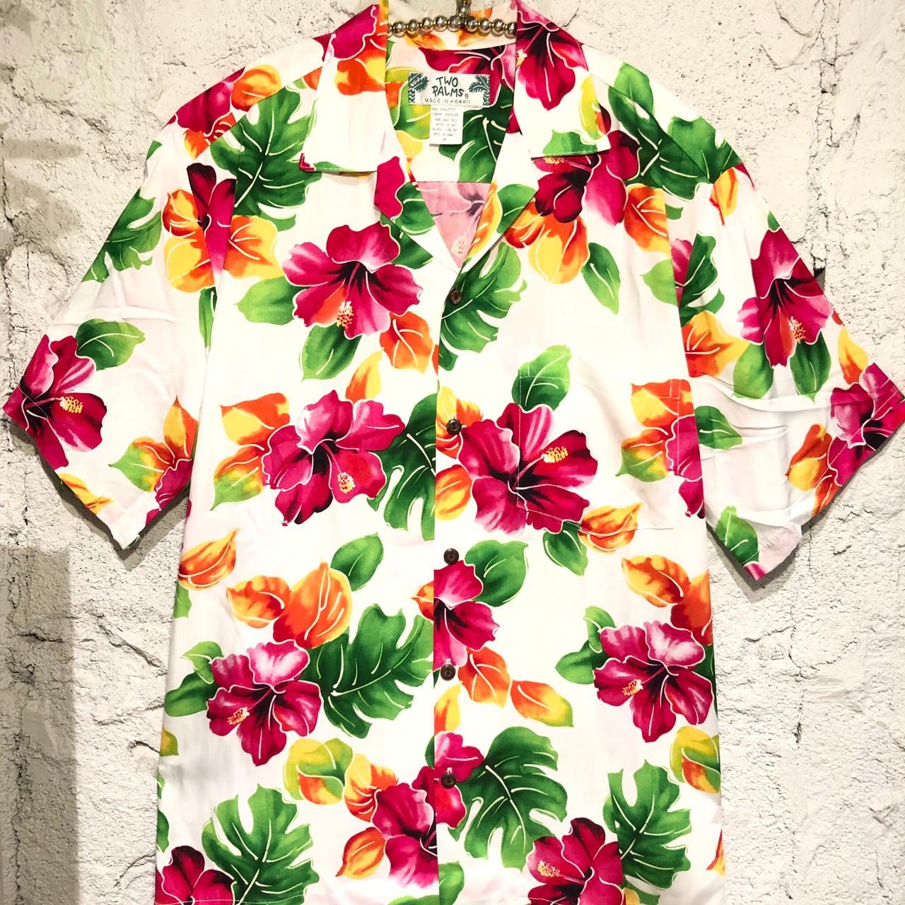 Mensアロハシャツ Hibiscus WatercolorWH