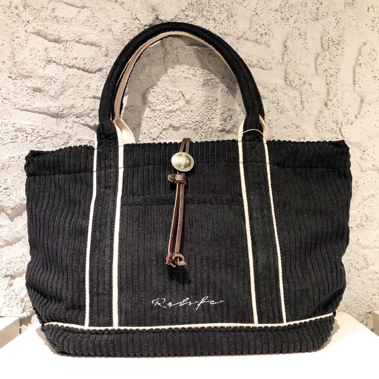 コーデュロイトートバッグ/キャメル/ブラックの2色