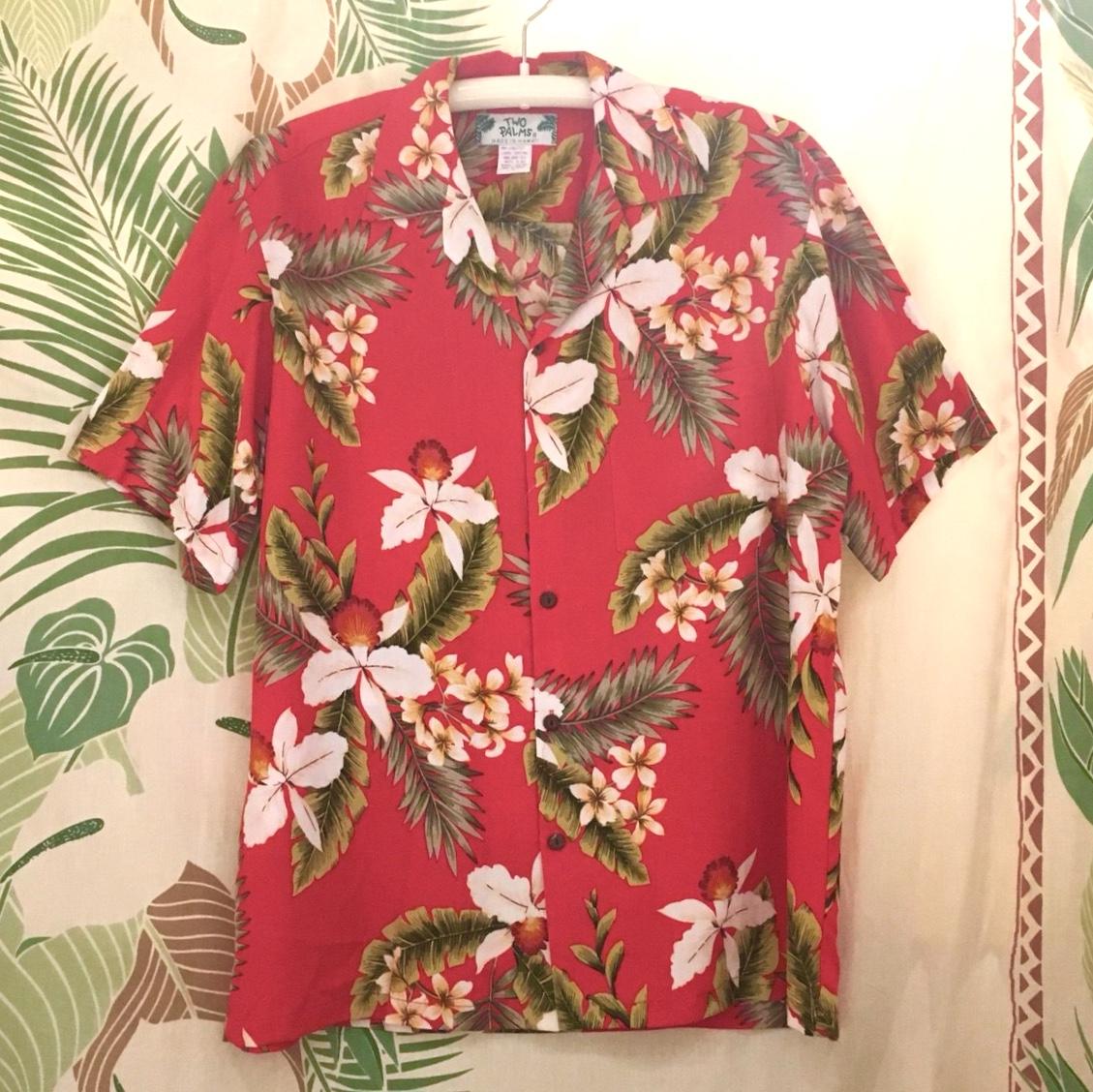 Mensアロハシャツ /オーキッドRED/Mサイズ