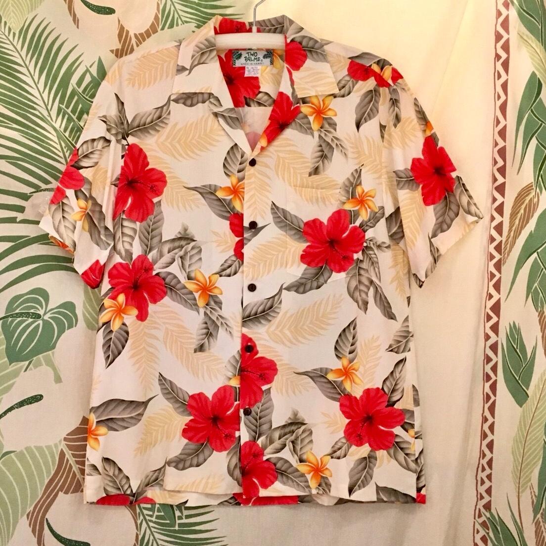 Mensアロハシャツ /ハイビスカスクリームMサイズ