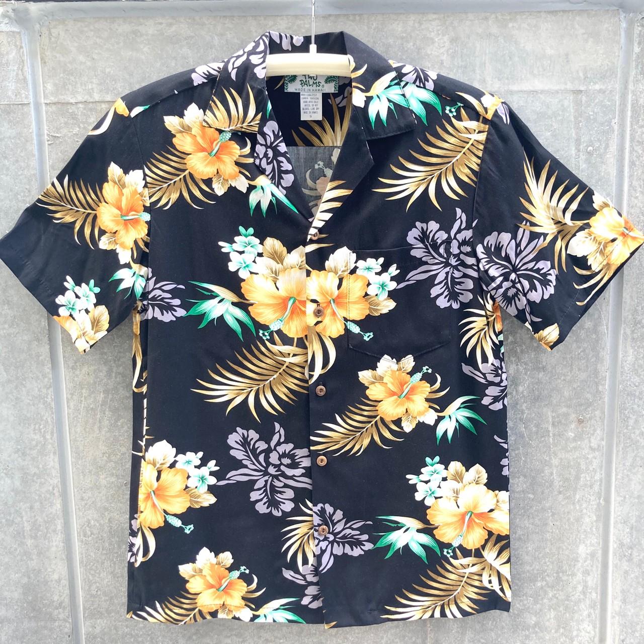 Mensアロハシャツ/Fern Hibisucus/Black