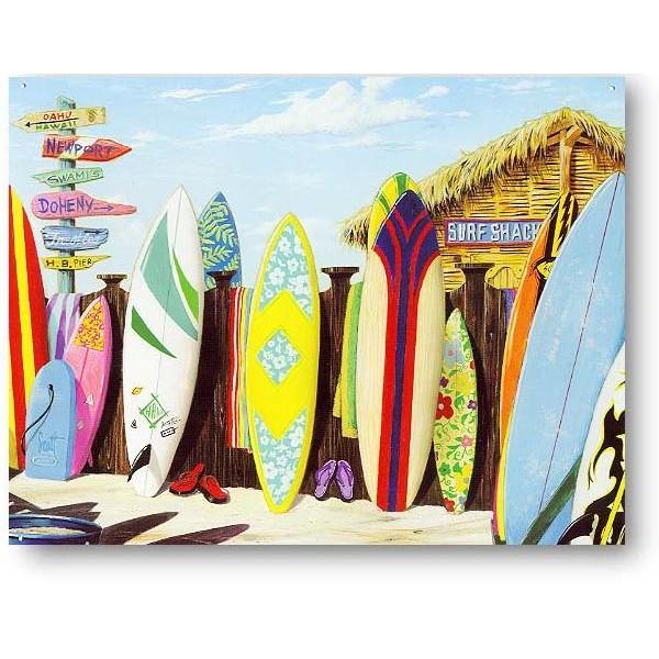 インテリアプレート/ハワイアンブリキ看板★直輸入★カラフルサーフボード★Surf Shack【ハワイアンインテリア】
