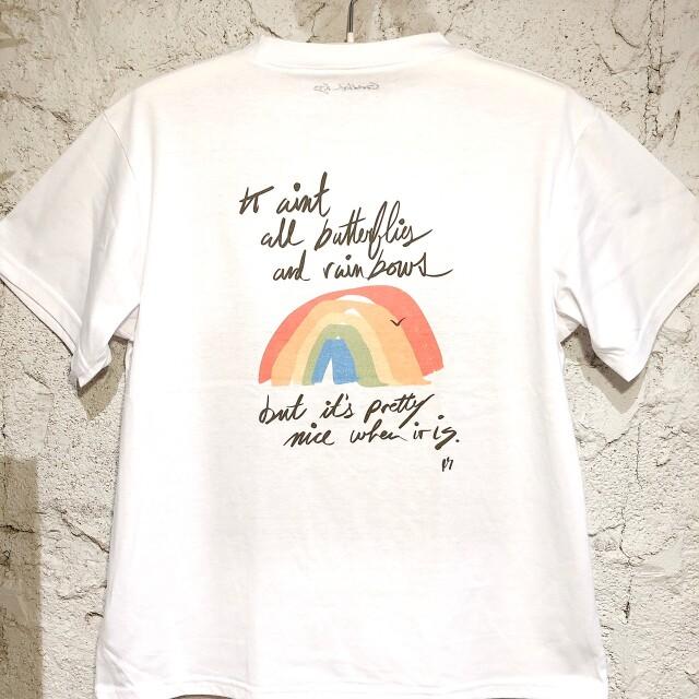 gold fish kissポケットアートTシャツ/wh