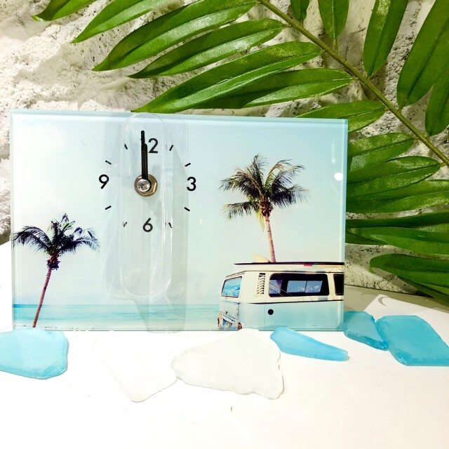 フォトデザイン時計【ハワイアン雑貨】ヤシの木とバス