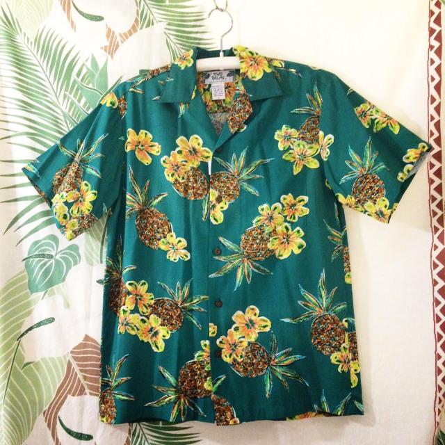 Mensアロハシャツ /パイナップルGR/Mサイズ