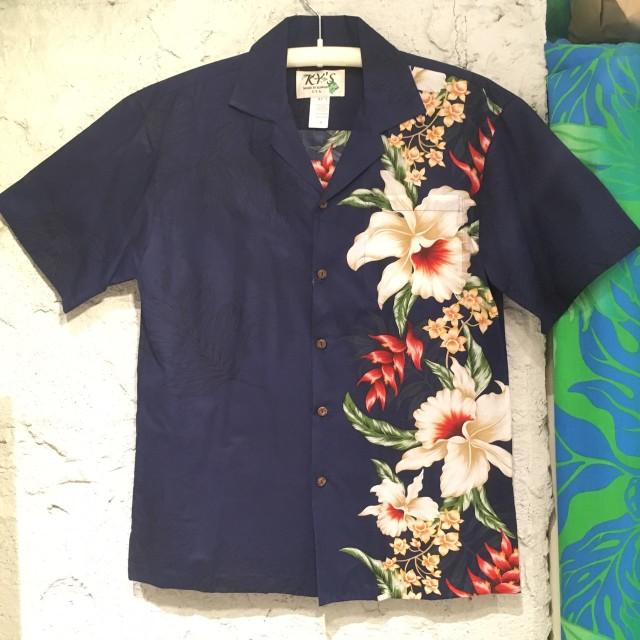 Mensアロハシャツ /サイドフラワ-/オーキッドNVY