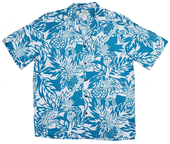 Mensアロハシャツ Wild Pineapple Aqua