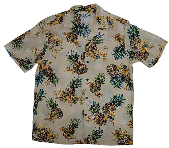 Mensアロハシャツ Golden PineappleCream