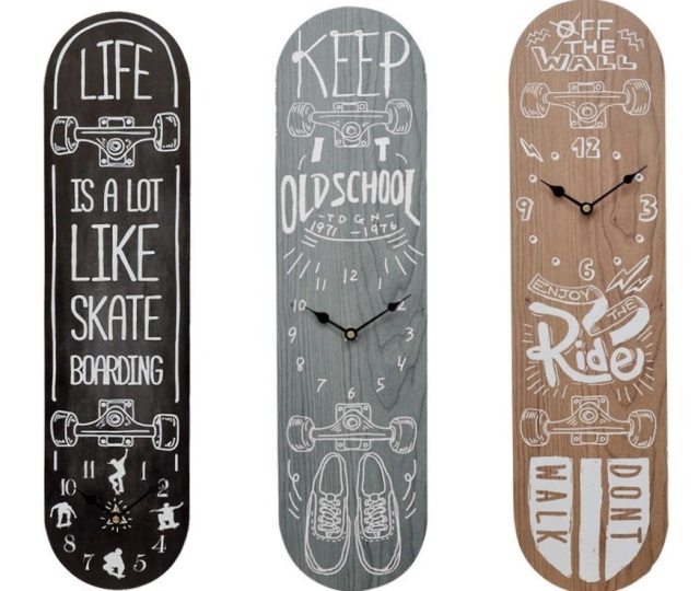 スケートボードの時計/三種【ハワイアン雑貨】