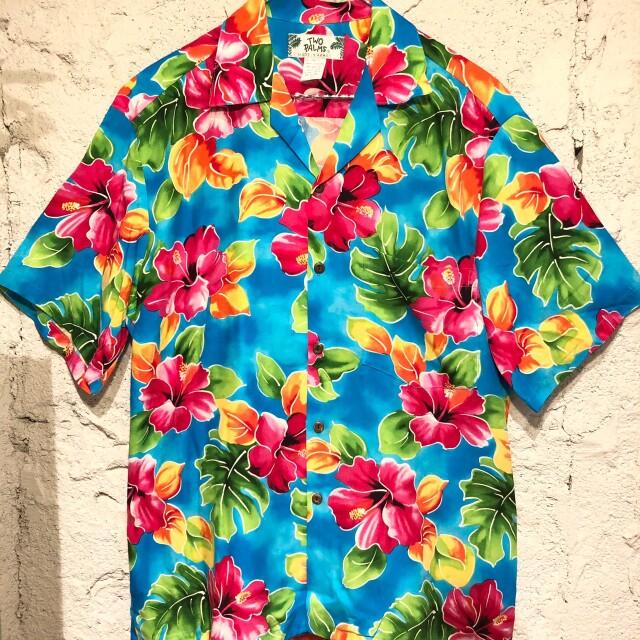 Mensアロハシャツ Hibiscus Watercolor Blue