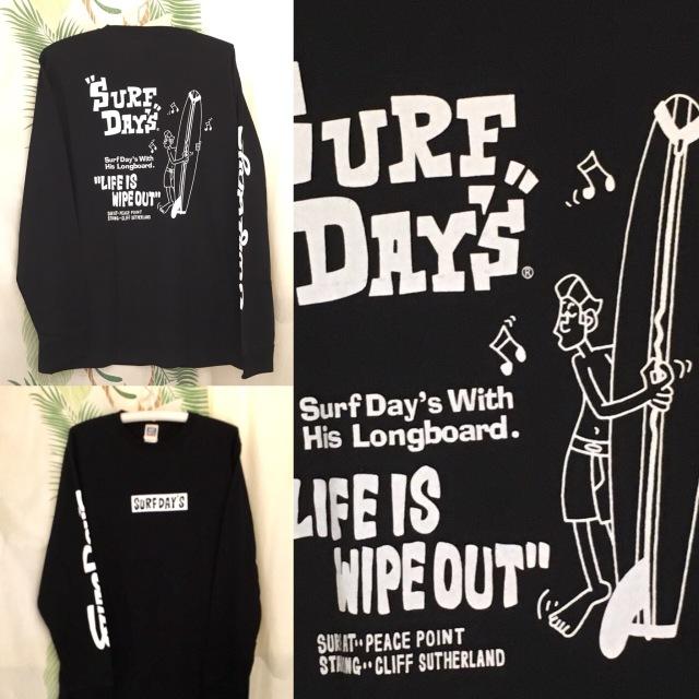 "【SURF DAY'S】メンズロンTee""WIPEOUT"" BK/M/L/"