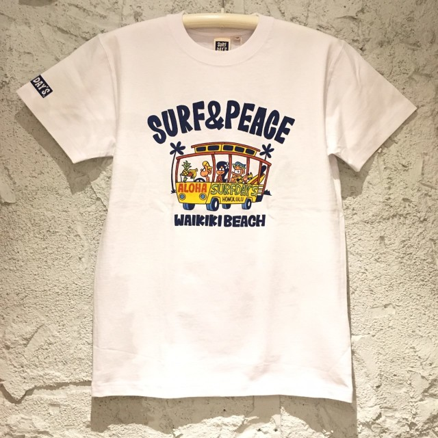 SALE【SURF DAY'S】メンズ半袖Tee ワイキキビーチWH/M/L/