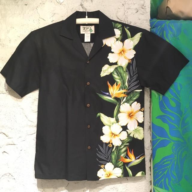 Mensアロハシャツ /フラワーボーダー/ハイビスカスバードオブパラダイスBK