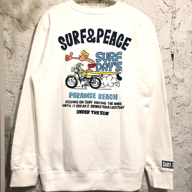 【SURF DAY'S】メンズトレーナーsurf&peace/WH/M/L/