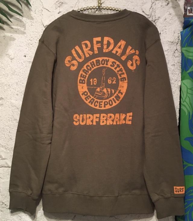 【SURF DAY'S】メンズトレーナーSURFブレイク/カーキ/M/L/