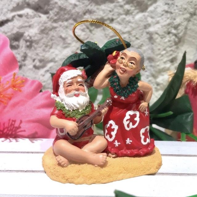 ハワイアンクリスマスオーナメント/singingサンタさん
