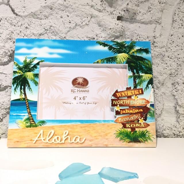 レジンハワイアンフォトフレーム2Dビーチサイン【ハワイアン雑貨