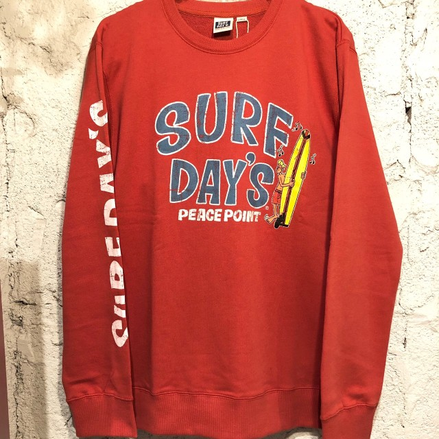 【SURF DAY'S】メンズトレーナーpeace Point/RED/M/L/