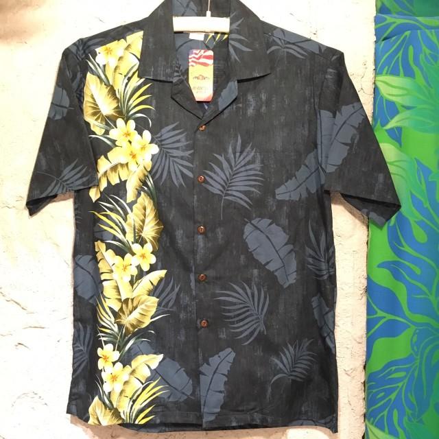Mensアロハシャツ /サイドフラワープルメリアBK