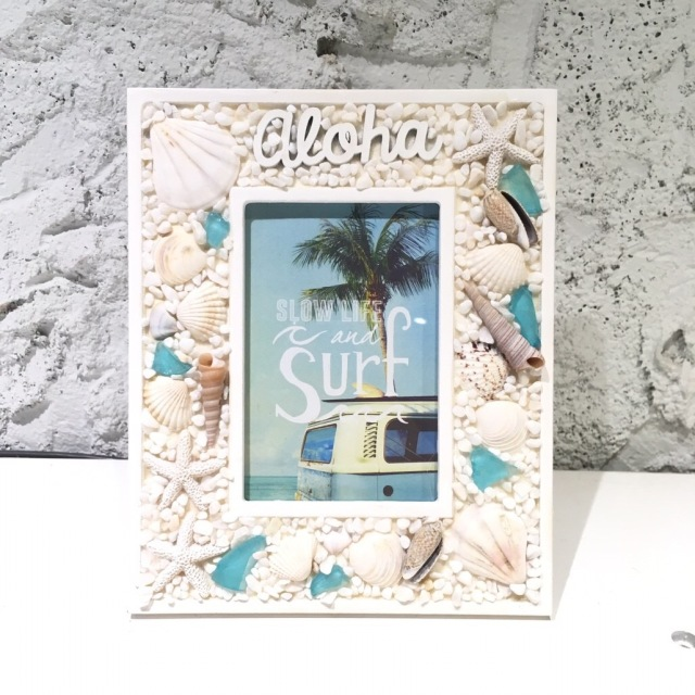 ビーチグラスのフォトフレーム【ハワイアン雑貨】WH/aloha