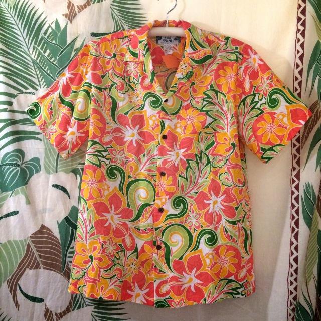 Mensアロハシャツ /コーラル/Sサイズ