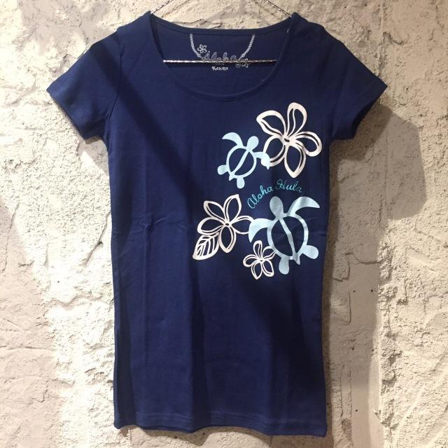 ☆SALE☆HulaレッスンTシャツ/アロハホヌフラTNAVY/M/Lサイズ【ハワイアンショップ アロハラバーズ】