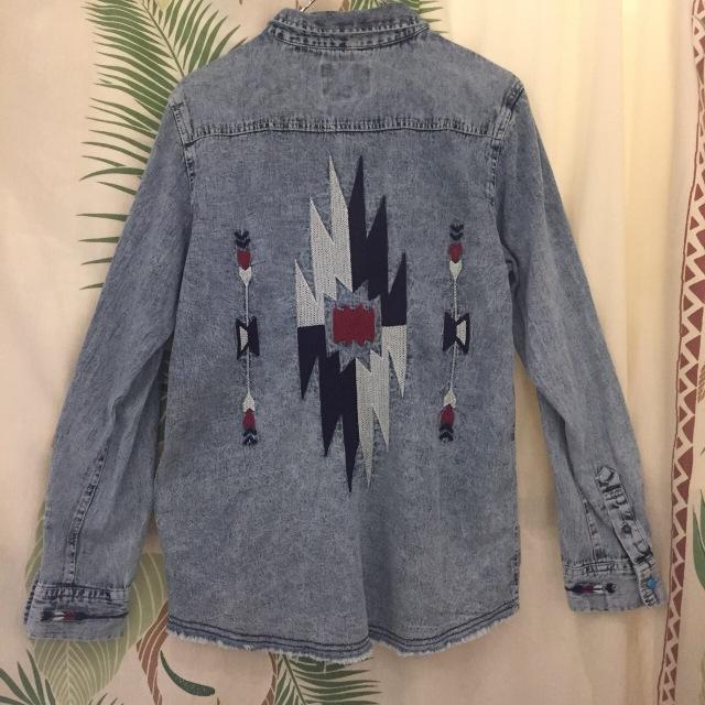 オルテガ刺繍メンズデニムシャツ/M.L/ケミカル