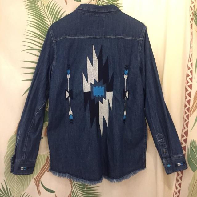 オルテガ刺繍メンズデニムシャツ/M.L/インディゴ