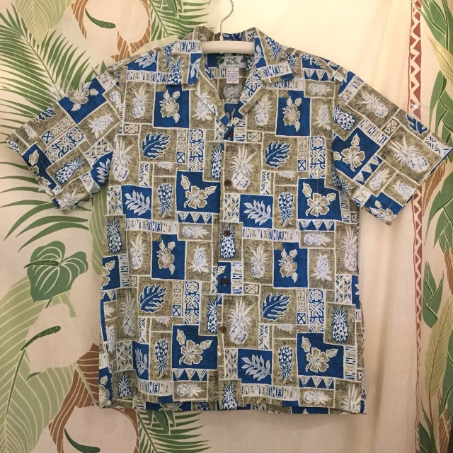 Mensアロハシャツ /パイナップルブロック/Mサイズ