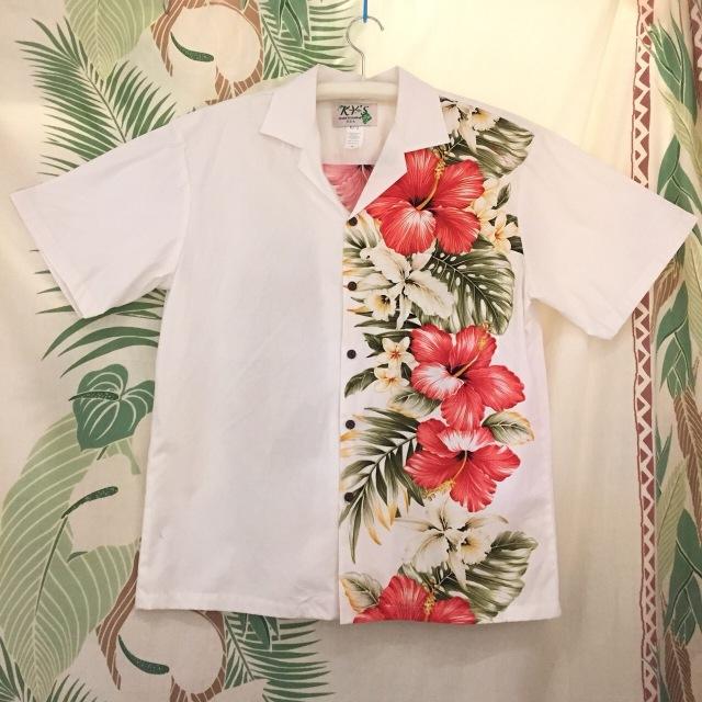 Mensアロハシャツ /フラワーボーダーハイビスカスWH/Mサイズ