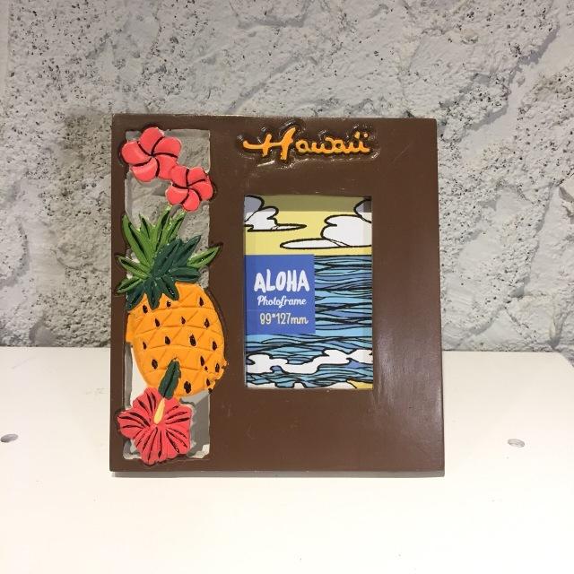 ビーチデコ フォトフレーム/HAWAIIパイナップル【ハワイアン雑貨】