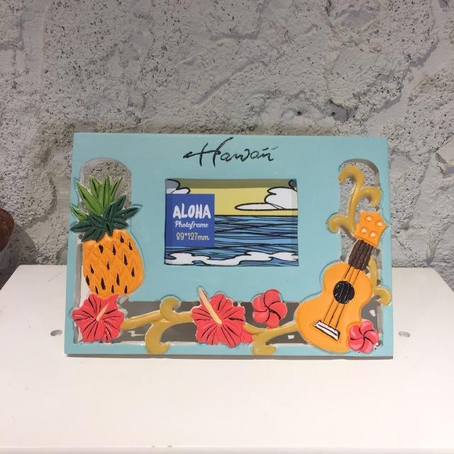 ビーチデコ フォトフレーム/HAWAIIハイビスカス、ウクレレパイナップル【ハワイアン雑貨】