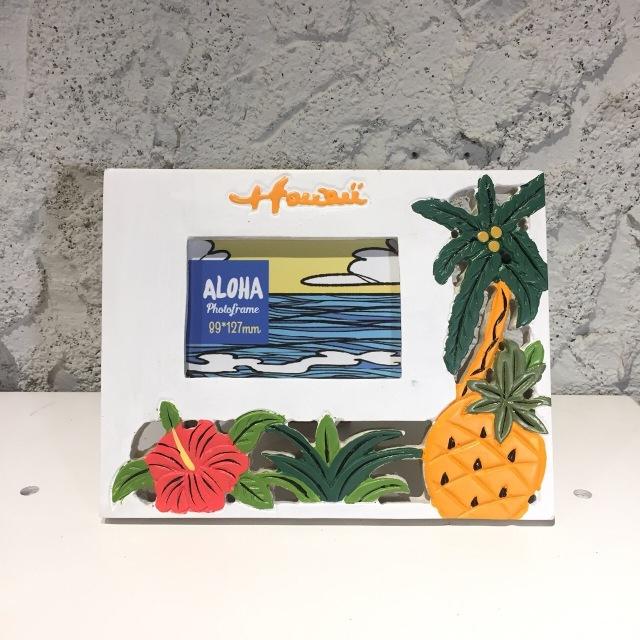 ビーチデコ フォトフレーム/HAWAIIハイビスカス、ヤシの木パイナップル【ハワイアン雑貨】