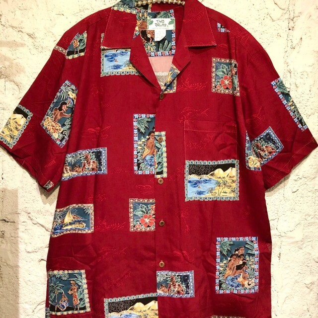 Mensアロハシャツ /Postcards BlackBK/RED