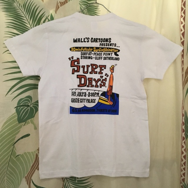 "【SURF DAY'S】メンズ半袖Tee""Walls Cartoons"" WH/M/L"