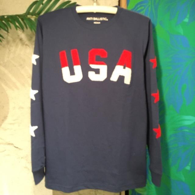 """【お袖の星とUSAがPOINT】メンズロンTee """"USA""""NVY/M/L/"""