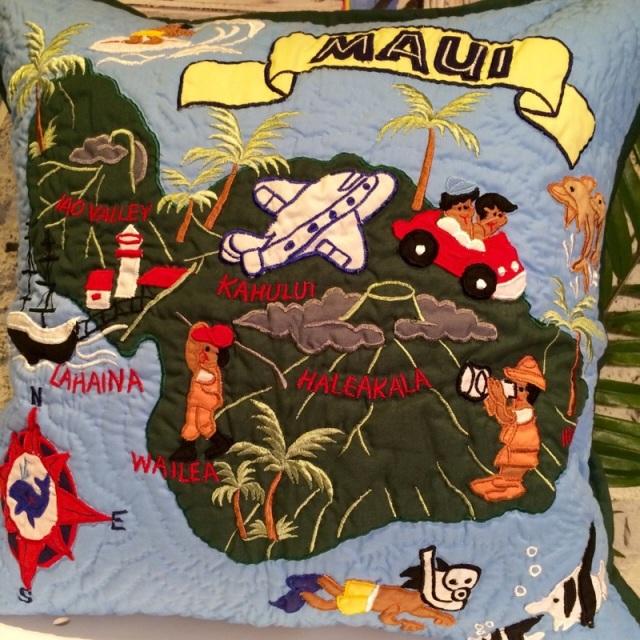 ハワイアンクッションカバーマウイ島 BL