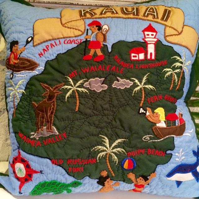 ハワイアンクッションカバーカウアイ島 ブルー