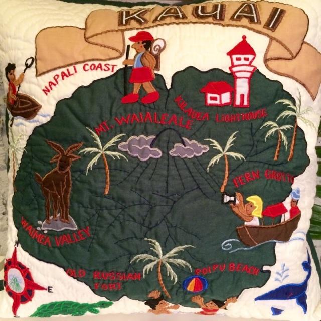 ハワイアンクッションカバーカウアイ島 /ホワイト