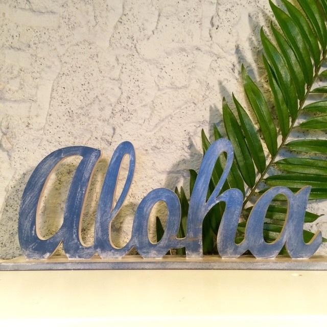 ハワイアンなデザイン/ALOHAメッセージスタンド【ハワイアン雑貨】