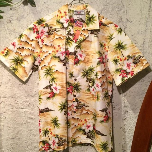 Mensアロハシャツ /ハイビスカスとヤシの木YE